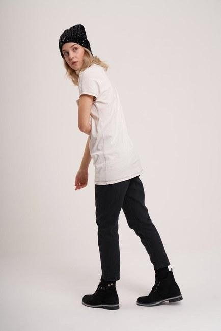 Cep Detaylı Basic T-Shirt (Ekru) - Thumbnail