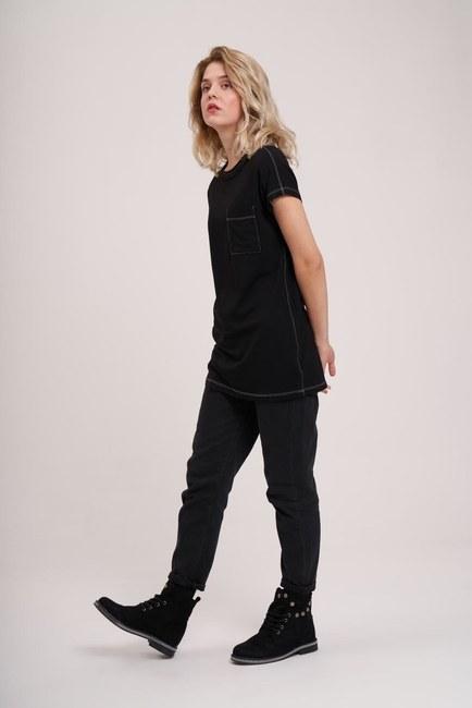 MIZALLE YOUTH - Cep Detaylı Basic T-Shirt (Siyah) (1)