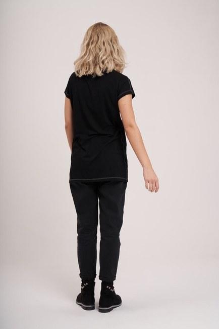Cep Detaylı Basic T-Shirt (Siyah) - Thumbnail
