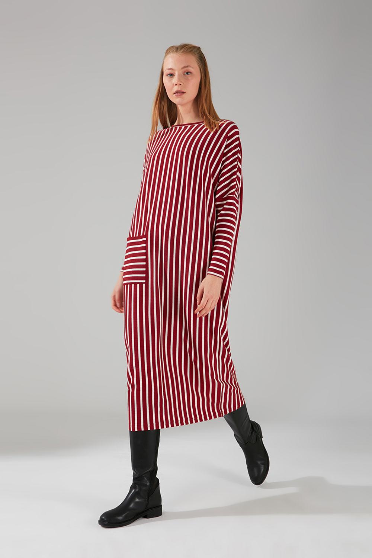 Cep Detaylı Çizgili Bordo Elbise