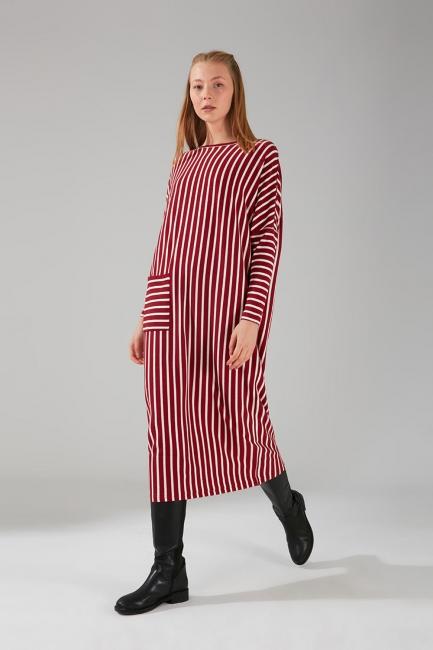 Mizalle - Cep Detaylı Çizgili Bordo Elbise