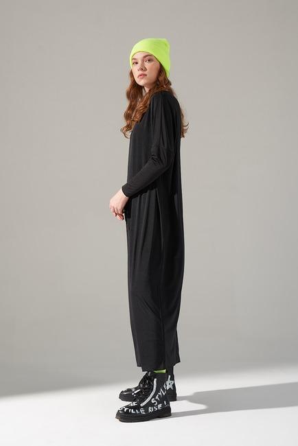 Cep Detaylı Elbise (Siyah) - Thumbnail