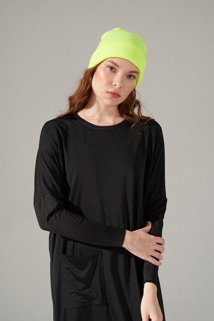 Mizalle - Cep Detaylı Elbise (Siyah)