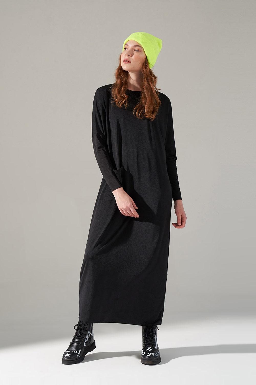 Cep Detaylı Siyah Elbise
