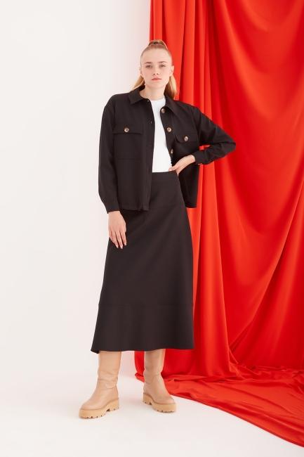 Mizalle - Cep Detaylı Siyah Spor Ceket