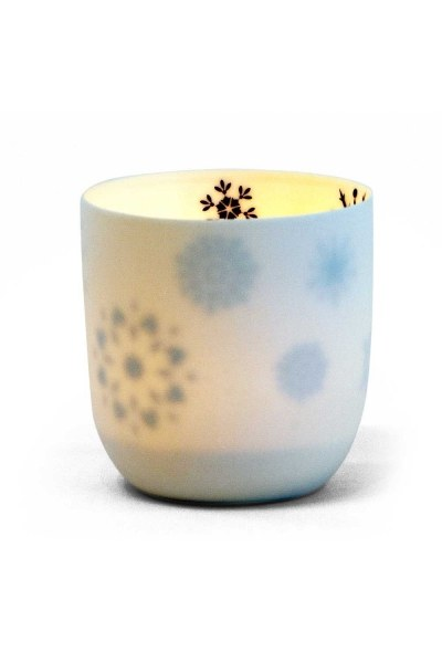 Ceramic Candle Holder With Snowflake Motives - Thumbnail