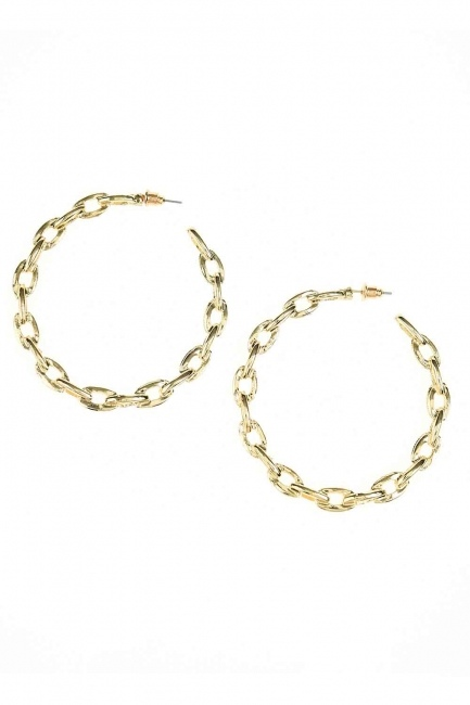 Chain Detailed Ring Earrings (Big) (St) - Thumbnail