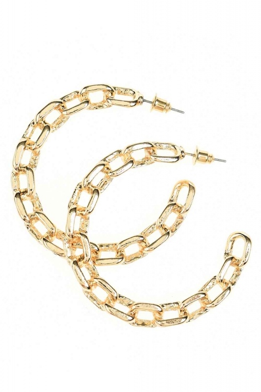 Chain Detailed Ring Earrings (Small) (St)