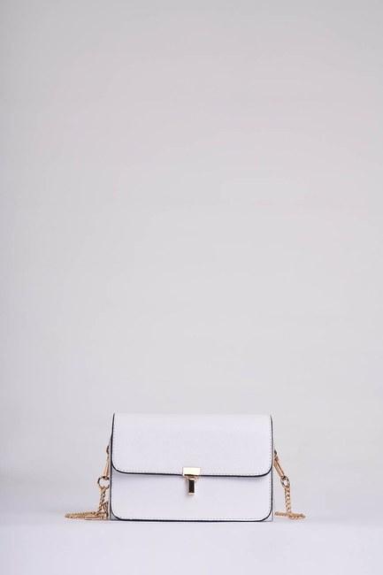 MIZALLE - Chain Strap Shoulder Bag (White) (1)