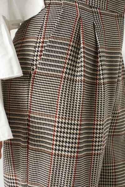 Checked-Patterned Wide Leg Trousers (Beige) - Thumbnail