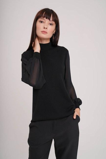 Mizalle - Chiffon Sleeves Turtleneck Tricot (Black) (1)