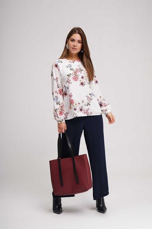 Çiçek Desenli Bluz (Ekru)