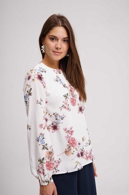 MIZALLE - Çiçek Desenli Bluz (Ekru) (1)