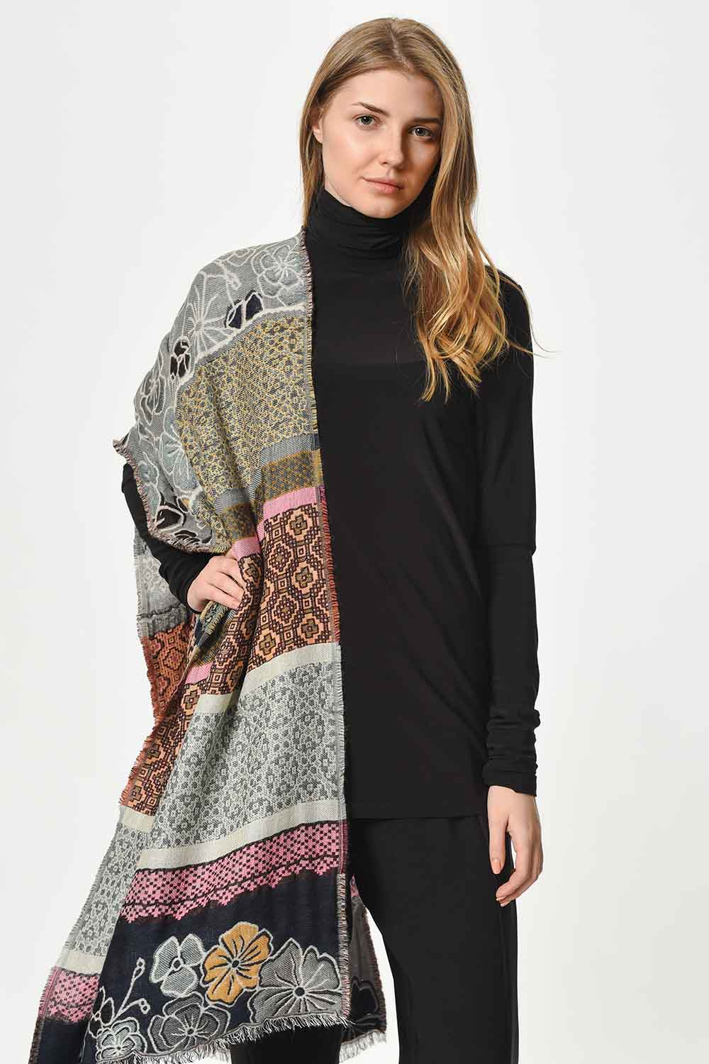 MIZALLE Floral Textured Thick Shawl (Mix) (1)