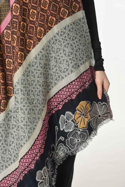 Floral Textured Thick Shawl (Mix) - Thumbnail