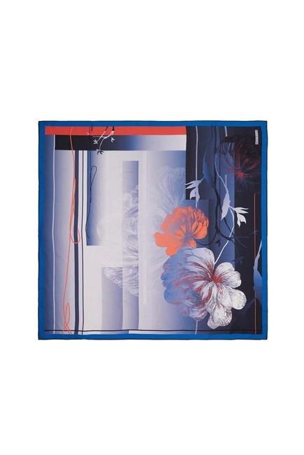 Mizalle - Çiçek Desenli Eşarp (Mavi)