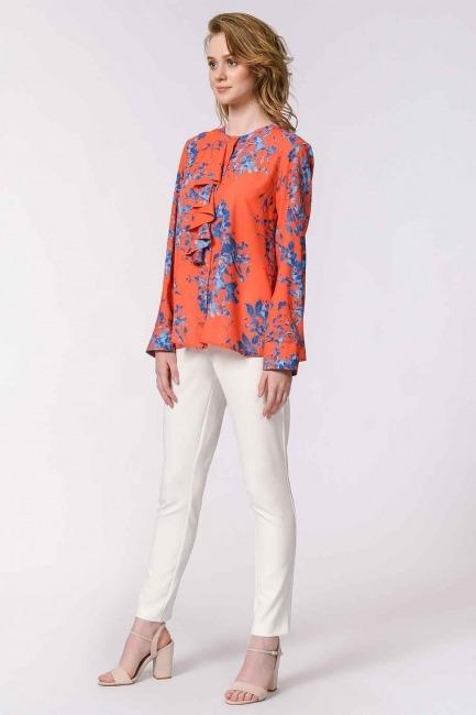 Çiçek Desenli Fırfırlı Bluz (Nar Çiçeği) - Thumbnail