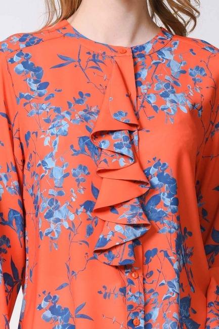 بلوزة منقوشة على شكل أزهار (أَحْمَرُ زَاه) - Thumbnail