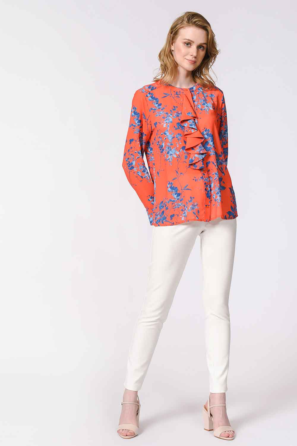 MIZALLE Flower Patterned Frilly Blouse (Orange-Red) (1)