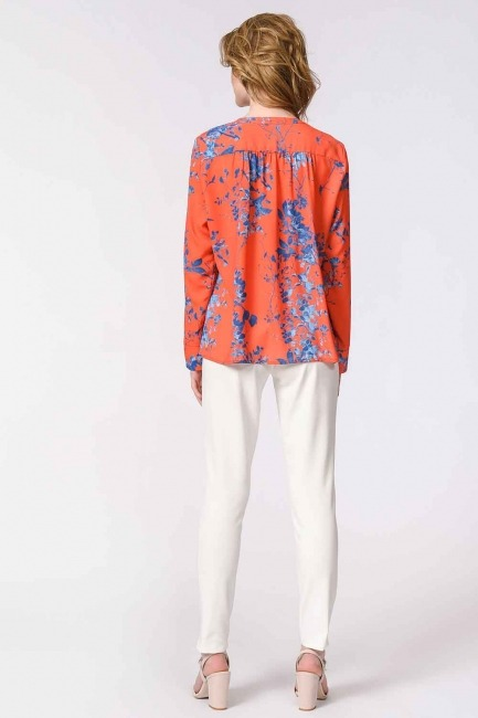Flower Patterned Frilly Blouse (Orange-Red) - Thumbnail