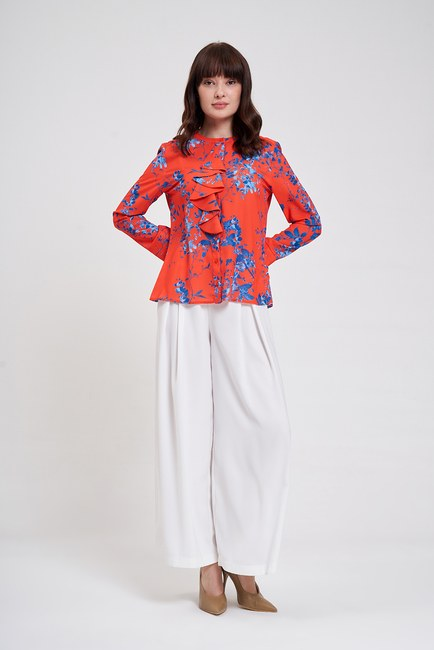 Mizalle - Çiçek Desenli Fırfırlı Bluz (Nar Çiçeği)