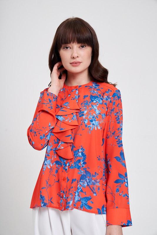 Çiçek Desenli Fırfırlı Bluz (Nar Çiçeği)
