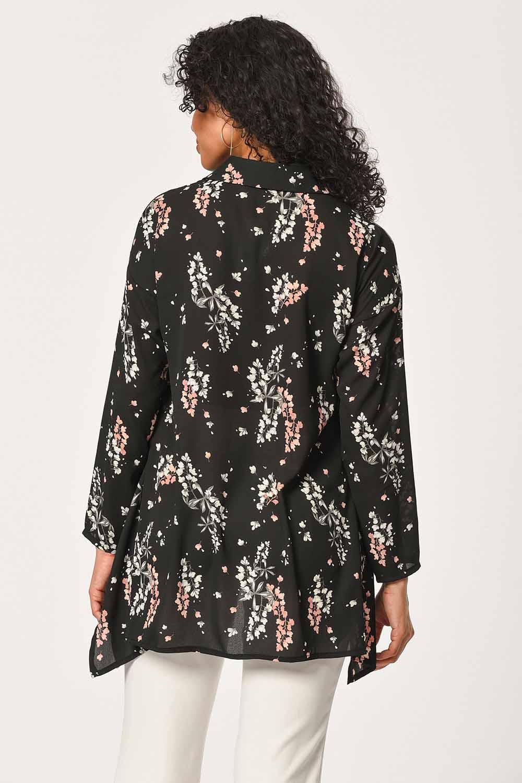 Çiçek Desenli Gömlek Bluz (Siyah)