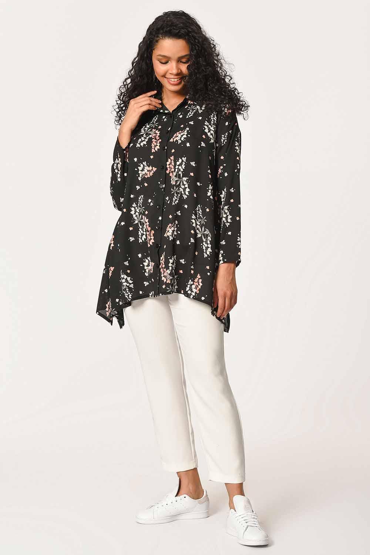 MIZALLE بلوزة قميص بنقوش الأزهار (أسود) (1)