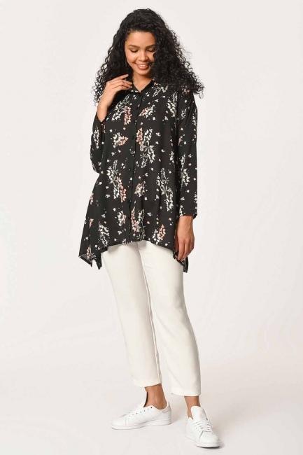 MIZALLE - بلوزة قميص بنقوش الأزهار (أسود) (1)