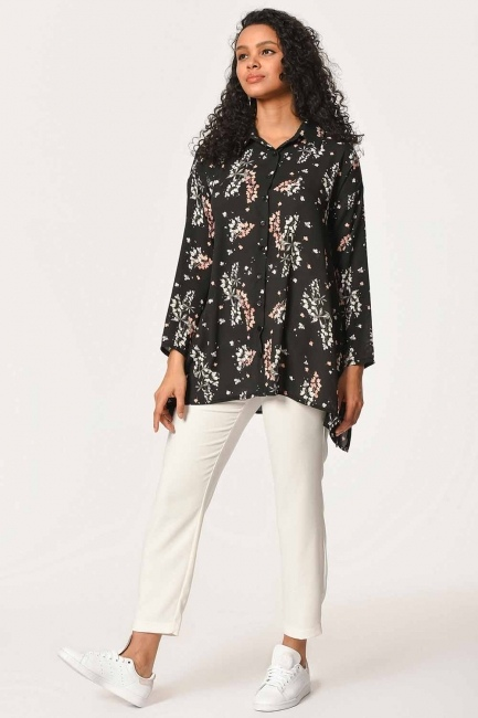 Floral Patterned Shirt Blouse (Black) - Thumbnail