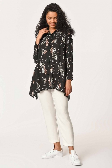 MIZALLE - Floral Patterned Shirt Blouse (Black) (1)