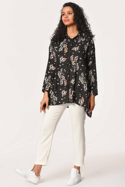 MIZALLE - Çiçek Desenli Gömlek Bluz (Siyah) (1)