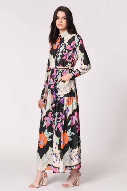 Çiçek Desenli Gömlek Yaka Elbise (Mix) - Thumbnail