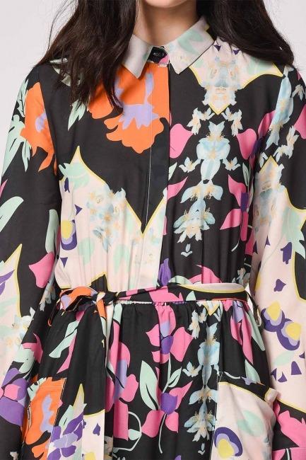 Çiçek Desenli Gömlek Yaka Elbise (Mıx) - Thumbnail