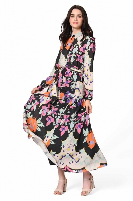 Floral Patterned Shirt Collar Dress (Mix) - Thumbnail