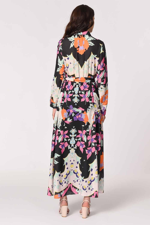 MIZALLE Çiçek Desenli Gömlek Yaka Elbise (Mıx) (1)