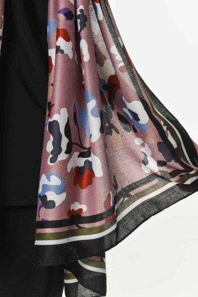 شال فاخر رقيق مع نمط الأزهار (مسحوق) - Thumbnail
