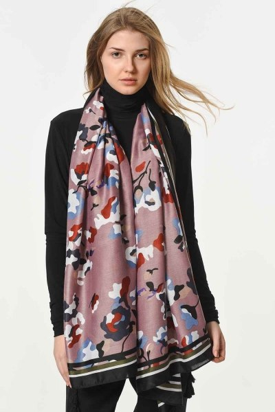 MIZALLE - Thin Luxury Shawl With Floral Pattern (Powder) (1)