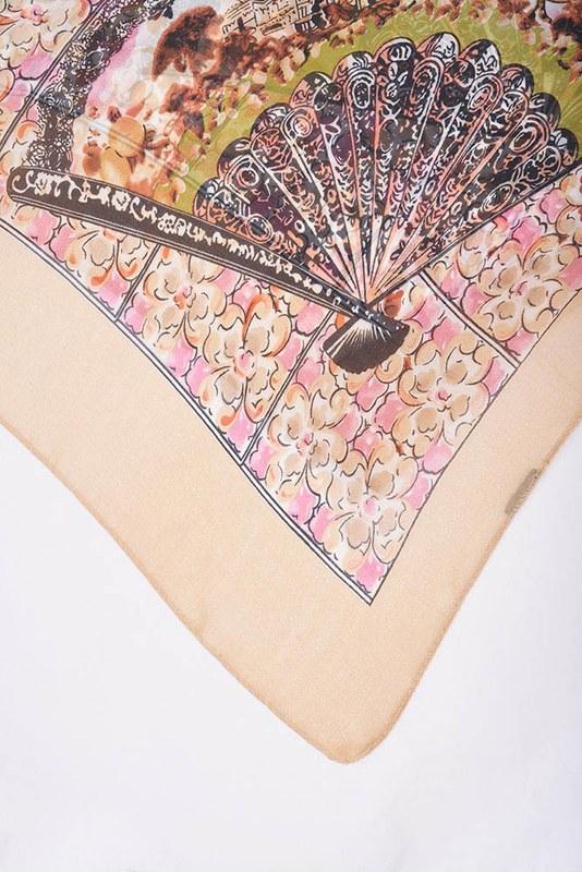 Çiçek Desenli Puantiyeli Şal (Vizon)