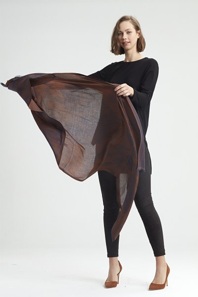 MIZALLE - Flower Patterned Shawl (Brown) (1)