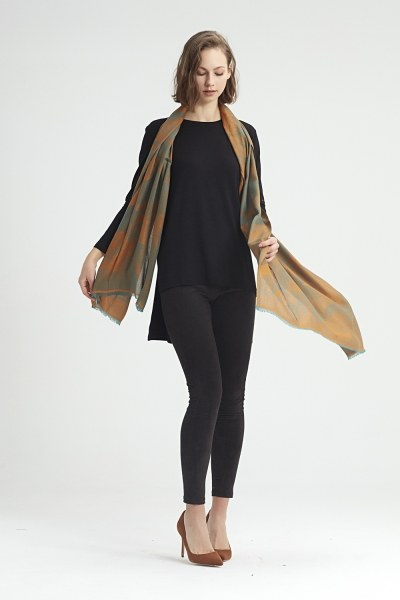 MIZALLE - Flower Patterned Shawl (Green) (1)