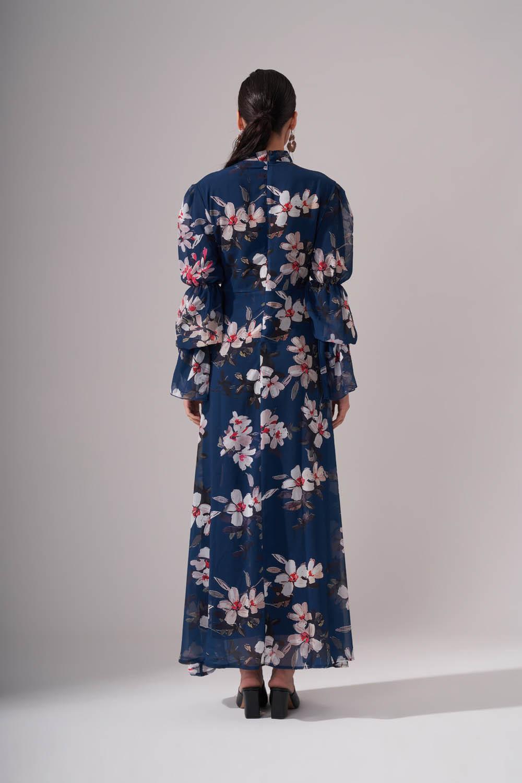 Çiçek Desenli Şifon Elbise (İndigo)