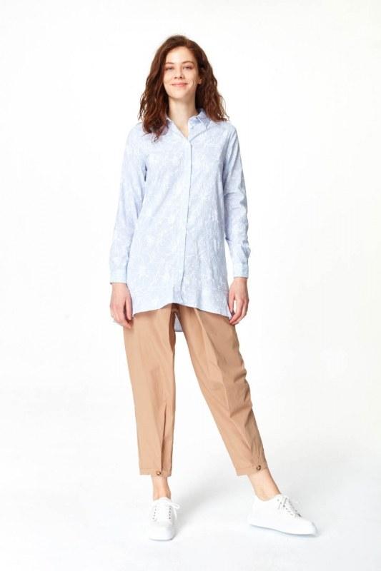 Floral Patterns Tunic Shirt (Blue)