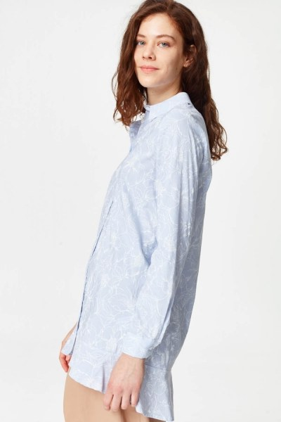 Floral Patterns Tunic Shirt (Blue) - Thumbnail