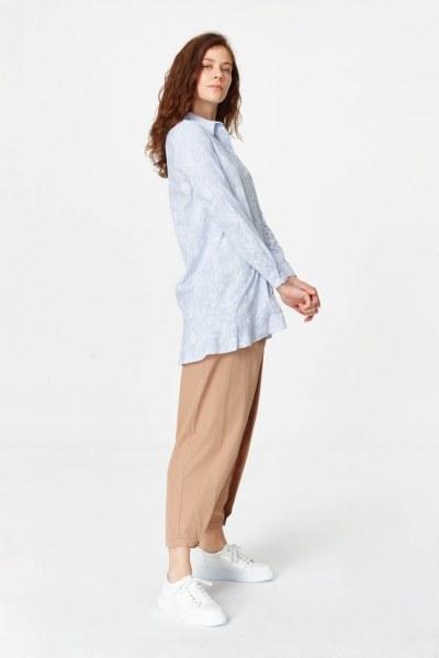 MIZALLE - Çiçek Desenli Tunik Gömlek (Mavi) (1)
