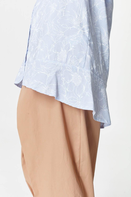MIZALLE Çiçek Desenli Tunik Gömlek (Mavi) (1)