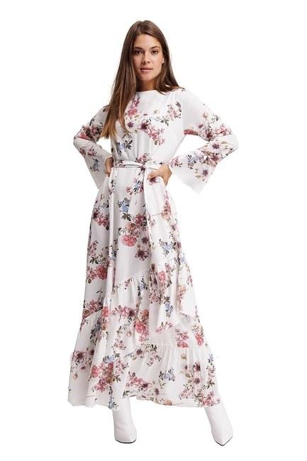 Çiçek Desenli Uzun Elbise (Ekru) - Thumbnail