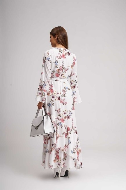 Flower Patterned Long Dress (Ecru) - Thumbnail