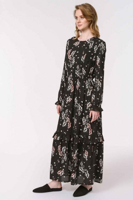 فستان طويل بنقشة الأزهار (أسود) - Thumbnail