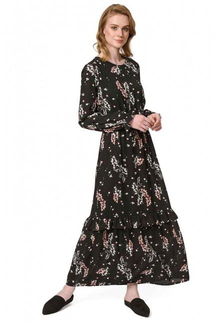 Çiçek Desenli Uzun Elbise (Siyah) - Thumbnail